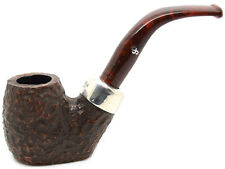Peterson 2019 Christmas Pipe Sterling Silver Mounted Rustic Flat Bottomed (304)