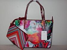 NWT Ted Baker London Lillyia Floral Swirl Printed Leather Tote /W pouch, Fuchsia