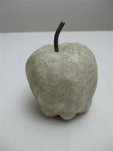 """Vintage Stone Pottery 4"""" tall Apple Paperweight Tan Color"""