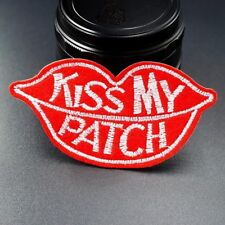 KISS MY PATCH Letter Badge Patch Embroidered Applique Sewing Fabric DIY Iron on