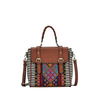 BGS15730 Aztec And Stripe Canvas Flap Over Convertible Bag