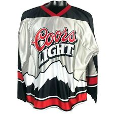 Rare COORS LIGHT BEER HOCKEY SILVER JERSEY Men XXL Promo 2XL Rocky Mountains USA