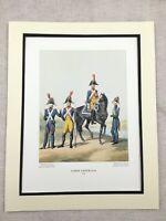 Vintage Militare Stampa Grande Francese Piede Soldati Imperial Guard Divisa 1806