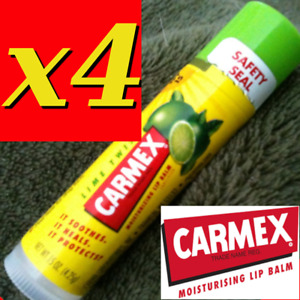 4 X CARMEX MOISTURISING LIP BALM, CLASSIC STICKS, LIME TWIST   .