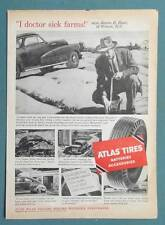 Original 1954 Atlas Auto Tire Ad Endorsed by James B. Hunt of Wilson NC