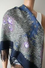 Russian Pavlovo Posad Shawl 100% wool with silk fringe 89x89cm(35x35inhes)845-14