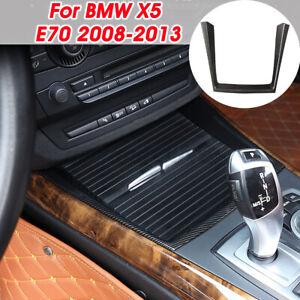 For BMW X5 E70 2008-2013 Carbon Fiber Water Cup Holder Interior Cover Trim Set
