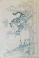 Disney Winnie The Pooh + Friends Original Concept Drawing Signed By Jane Bonnet
