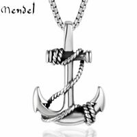 MENDEL Mens Stainless Steel Nautical Surfing Beach Anchor Pendant Necklace Men
