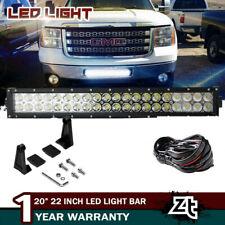 "11-14 GMC Sierra 1500 2500 3500HD Lower Grille Bumper 20/22"" LED Light Bar Combo"