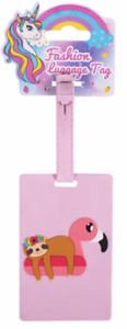NEW - Cute Novelty Pink Childrens Sloth & Flamingo Design Luggage/Suitcase Tag