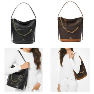 Michael Kors Reese MK Signature Pebbled Leather Hobo Shoulder Bag