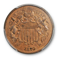 1870 2C Proof Two Cent Piece PCGS PR 63 RB Red Brown Low Mintage Cert#4942