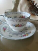 """Shelley """"Crochet"""" Blue Henley Cup and Saucer, Engalnd c. 1945"""