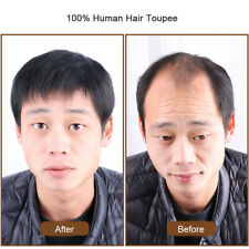 Thin 100% Human Hair Toupee Hairpiece for Men Clip in Top Piece Topper Extension