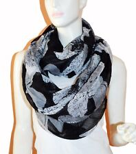 Soft Floral Light Weight X-large Infinity Scarf Loop Cowl-Black/White