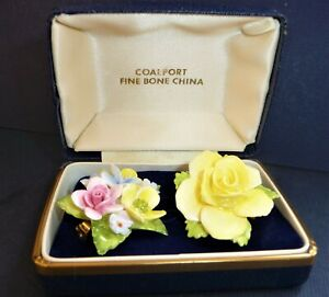 2X VINTAGE BOXED COALPORT PORCELAIN BROOCH PIN CHINA FLORAL FLOWERS YELLOW ROSE