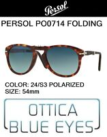 PERSOL PO 0714 24/S3 polarized 54 Sunglasses folding pieghevole steve mcqueen