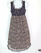 Anthropologie Anna Sui Dress 2 Womens SILK Chiffon Black S12