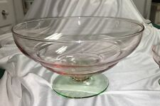 "PINK GREEN WATERMELON DEPRESSION GLASS -9"" FOOTED BOWL + 4"" Matching Bowl"