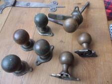 7 antique original brass doorknobs ex Suffolk latch door knob sets 2 damaged A21