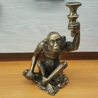 Brass Monkey Torch Sculpture Show Statue Animal Vintage Collectible Home Decor