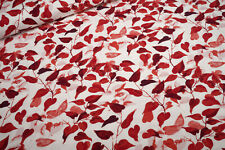 Jersey Heart leaves multi red on white Cotton Jersey Knit Fabric 0.54yd (0,5m)