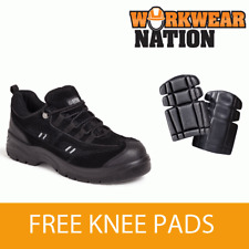Apache Ap302sm Black Leather Safety Work Trainer Knee Pads Included