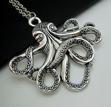 Free Unique Tibetan Silver Octopuses Octopus Lucky Charm Pendant chain Necklace