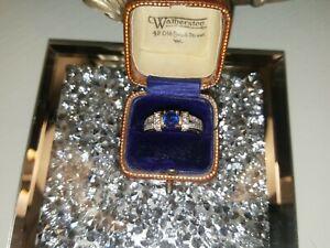 9ct Gold Ceylon Sapphire And Diamond Ring