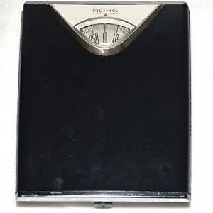 VTG MCM Atomic Borg Bathroom Scale Black Magnifying Bubble 50s 60s Retro Works