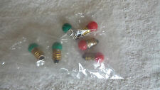 1449 14 VOLT SCREW BASE SMALL GLOBE 3 RED 3 GREEN BULBS FOR LIONEL MTH & OTHERS