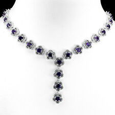 NATURAL PURPLE AMETHYST, W CZ ACCENTS 925 SILVER FLOWERS TENNIS NECKLACE 19.5