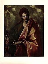 """1950 Vintage EL GRECO """"ST. JOHN THE EVANGELIST"""" FABULOUS COLOR offset Lithograph"""