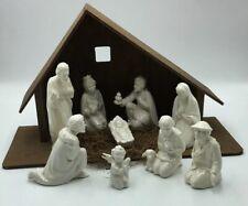 9 Piece Goebel Nativity Set W Germany White Figurines w/ Wood Creche Straw