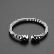 Bracelet Tribal Type Jonc En Argent Tibétain-Têtes De Mort-Gourmette-Vintage