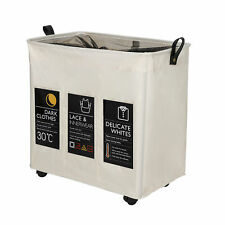 Laundry Hamper Foldable Clothes Laundry Basket Waterproof Rolling Bag 3 Section