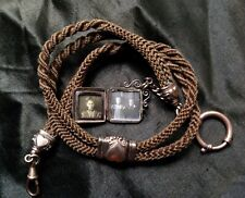 ANTIQUE POCKET WATCH WOVEN HAIR CHAIN HEART CHILD PHOTO LOCKET NECKLACE MOURNING