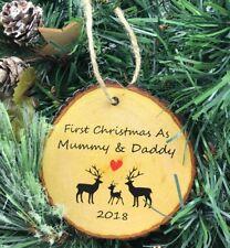 Personalised Baby 1st Premier Arbre de Noël décoration cœur 2018 Cadeau Tree Slice