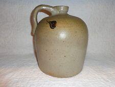 Small Antique Salt Glazed Stoneware Whiskey Black Drip Glaze Decorated Jug