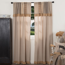 "FARMHOUSE COUNTRY PRIMITIVE SAWYER MILL 84""L PANELS WITH ATTACHED VALANCE"