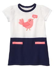 Gymboree Baby Girl 18-24 Months Blooms & Boats Sweater Dress with Pink Bird NEW
