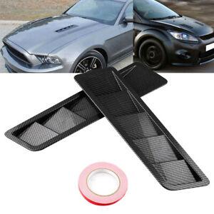 2pcs Carbon Fiber Black Car Hood Vent Louver Cooling Panel Trim Universal