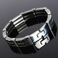Men Silver Black Stainless Steel Silicone Cross Wristband Bracelet Bangle Chain