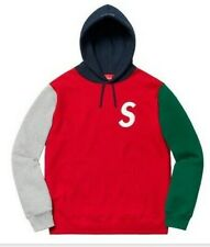 Supreme S Logo Colorblocked Hooded Sweatshirt Size Large Red SS19 SS19SW22 New