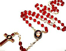 Precious Blood of Christ Chaplet Rosary Necklace Glass round red beads Rosarie