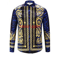 Men Vogue Runway Blue Clubwear 3D Floral Printed Long Sleeve Leisure Shirts Tops