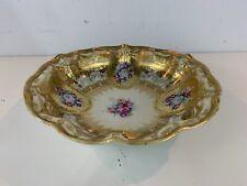 Antique Morimura Bros Nippon Porcelain Floral Gold Enamel Decorative Bowl