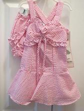 Rare editions infant girls pink&white seer sucker 2 piece lined sun dress,NWT