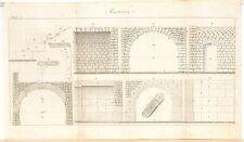 Stampa antica COSTRUZIONI MURATURA volte Maconnerie Pl 7 1814 Old antique print